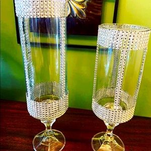 Crystal gems glass detailed vases